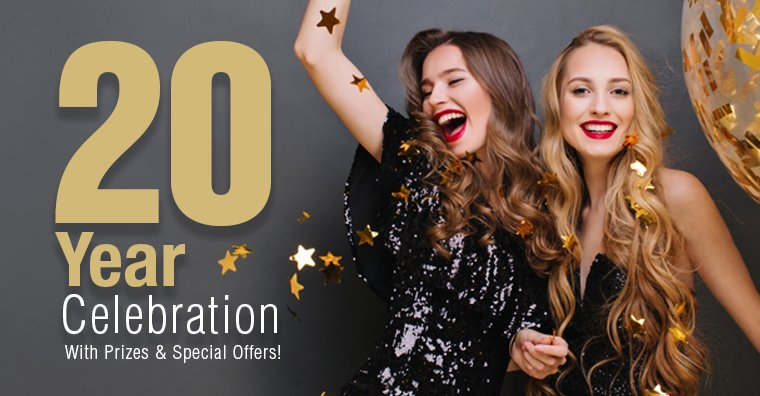 20 Year Celebration With Prizes & Special Offers
