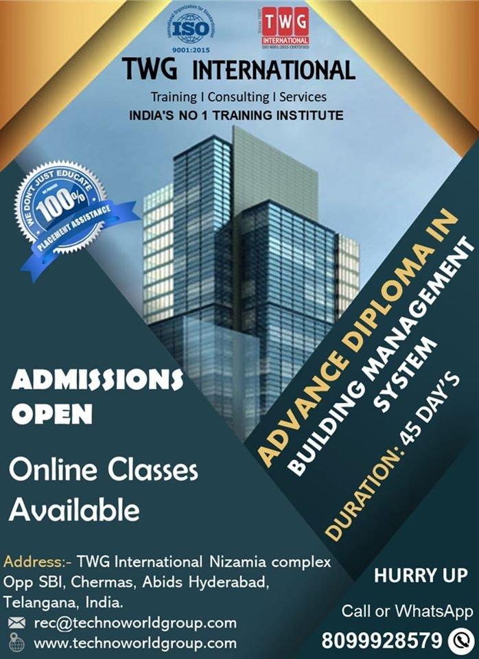 Building Management System Course, Variable Air Volume (VAV), BACnet, LonWorks, Modbus, Profibus, Canbus, PLC, SCADA, HVAC, Fire Alarm System Training, NFPA Standard Training, CCTV Installation Training, Access Control System.