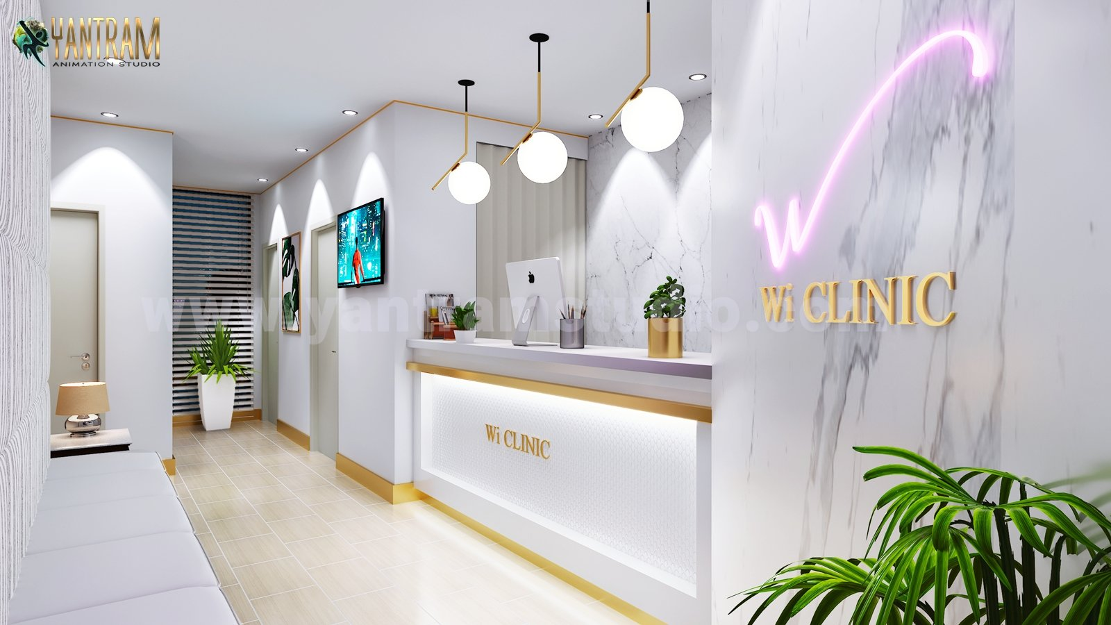 Contemporary, Minimalist Office Reception Desk 3D Interior Designers By Architectural Animation Services   London, UK