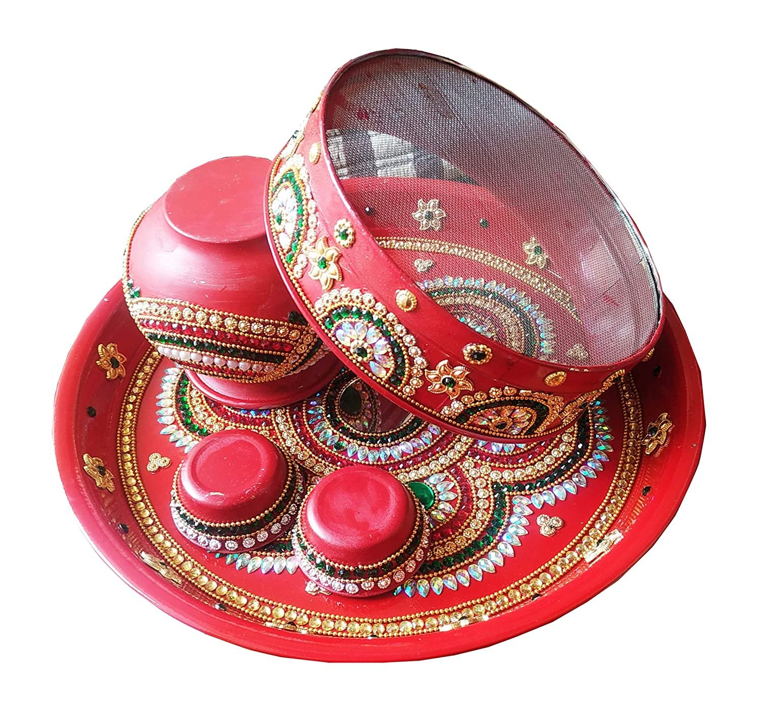 Enriched Colorful Om Pooja Thali Set For Karwachauth Festival
