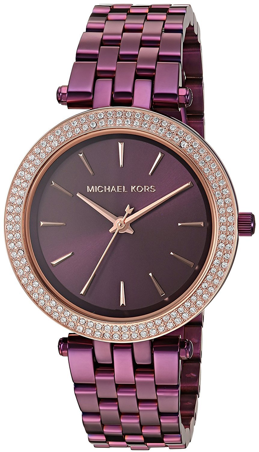 Michael Kors Mini Darci Pave Quartz MK3725 Women's Watch: A Pavé Crystal-Accented, Glamorous, Petite Plum!