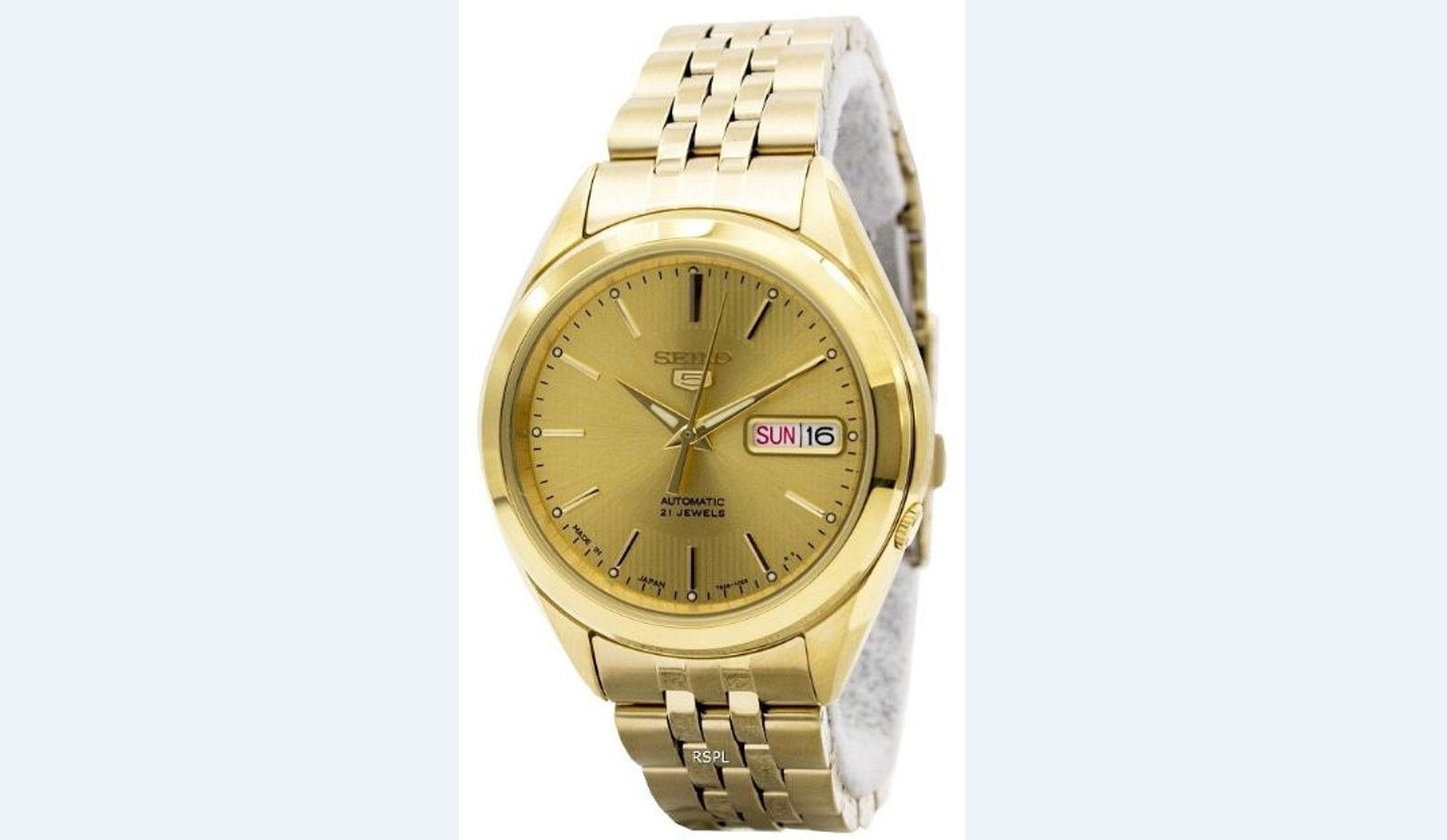 Seiko 5 Automatic 21 Jewels Japan Made SNKL28J1 SNKL28J Men's Watch: Golden Lining In Between The Techno Shimmers