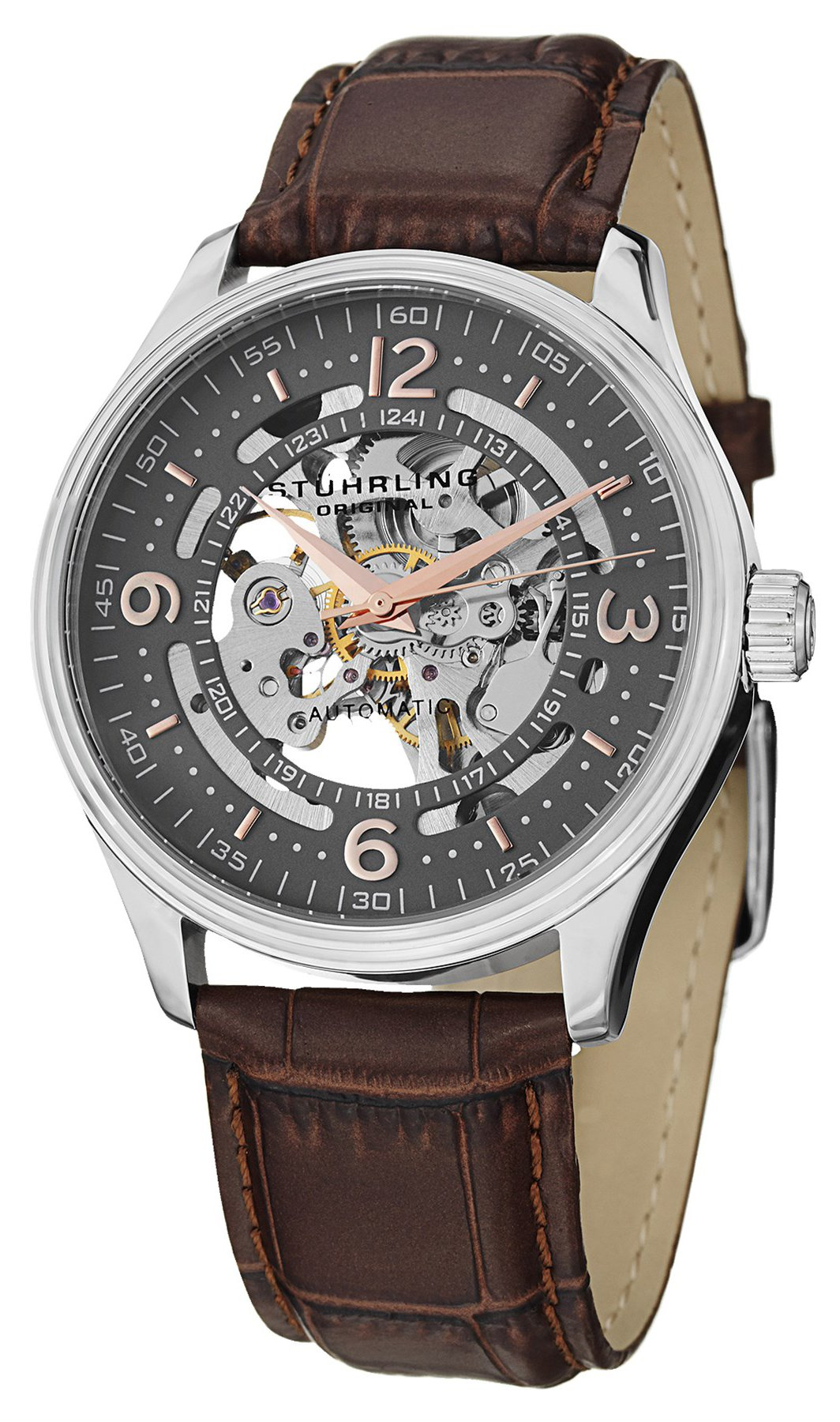 Stuhrling Original Denmark Delphi Automatic Skeleton Grey Dial 730.02 Mens Watch